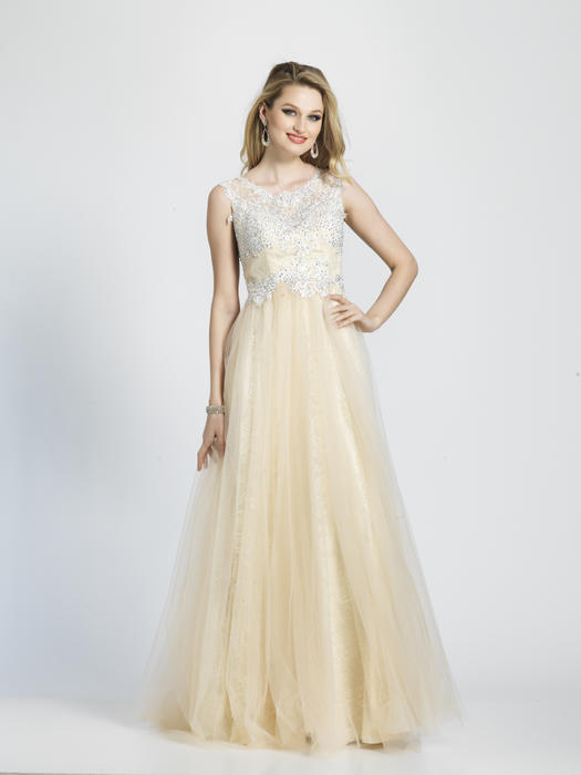 Dave and Johnny - Chiffon Gown Embroidered Bead Bodice