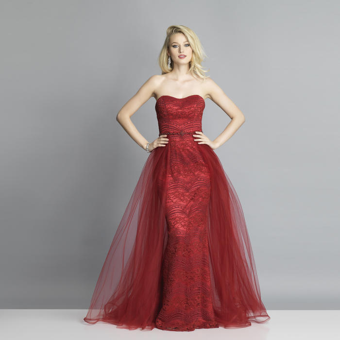 Dave and Johnny - Mesh Lace Flyaway Strapless Gown
