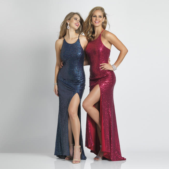 Dave and Johnny - Sequin Spaghetti Strap Gown