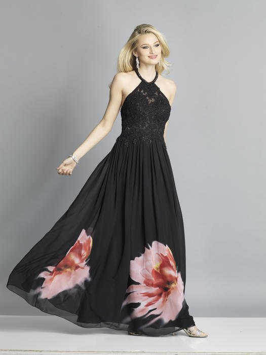 Dave and Johnny - Chffon Print Halter Gown