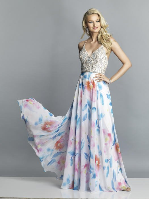 Dave and Johnny - Chiffon Print Gown Beaded Bodice