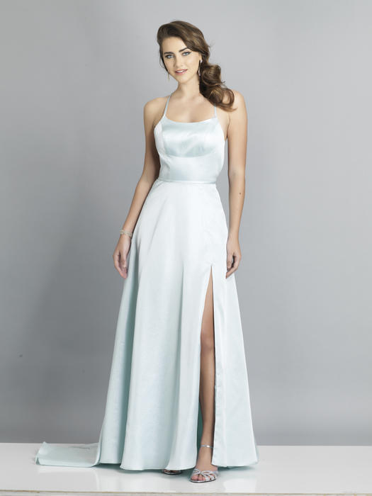 Dave and Johnny - Satin High Slit Strappy Back Gown