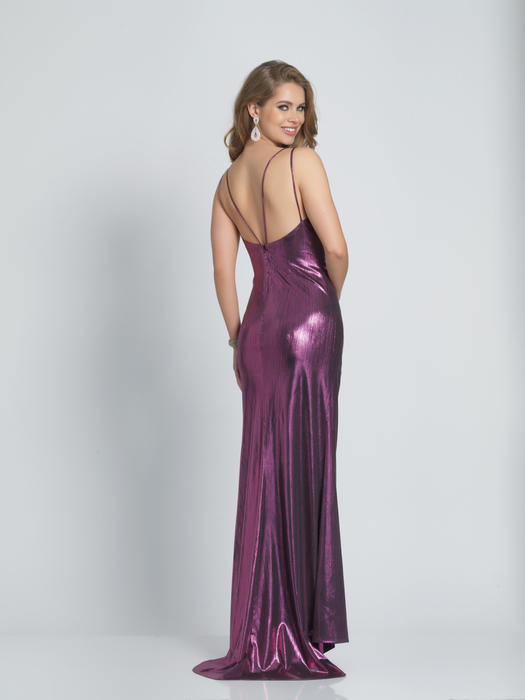 Dave and Johnny - Satin Metallic Wrap Bodice Gown