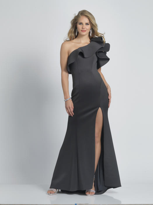 Dave and Johnny - Satin Ruffle One Shoulder Gown