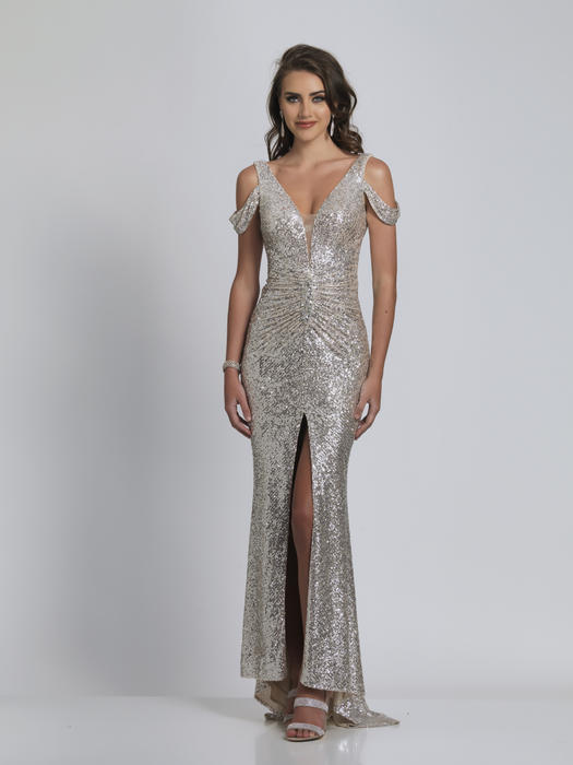 Dave and Johnny - Mesh Sequin Wrap Waist Gown