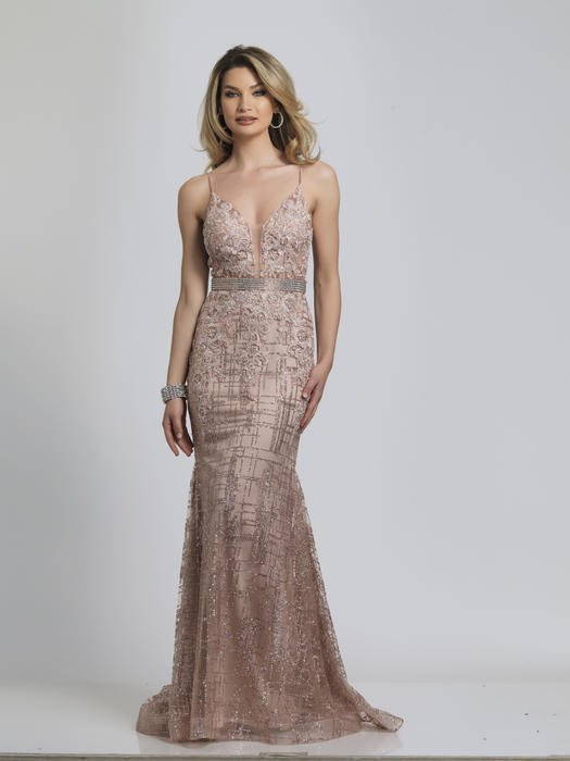 Dave and Johnny - Mesh Metallic Embroidered Beaded Bodice Gown