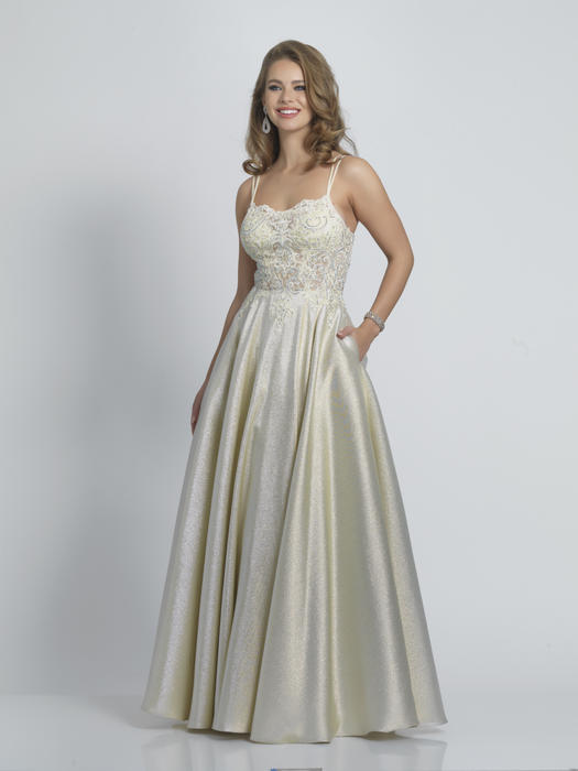 Dave and Johnny - Satin Metallic Lace Beaded Bodice Ballgown