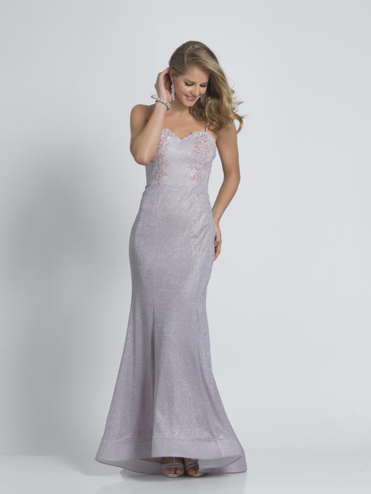 Dave and Johnny - Jersey Metallic Strapless Embroidered Gown