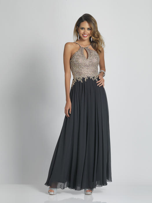 Dave and Johnny - Chiffon Embroidered Beaded Bodice Gown