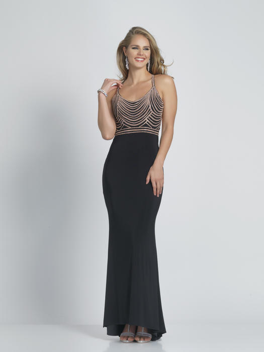 Dave and Johnny - Jersey Spaghetti Strap Beaded Bodice Gown