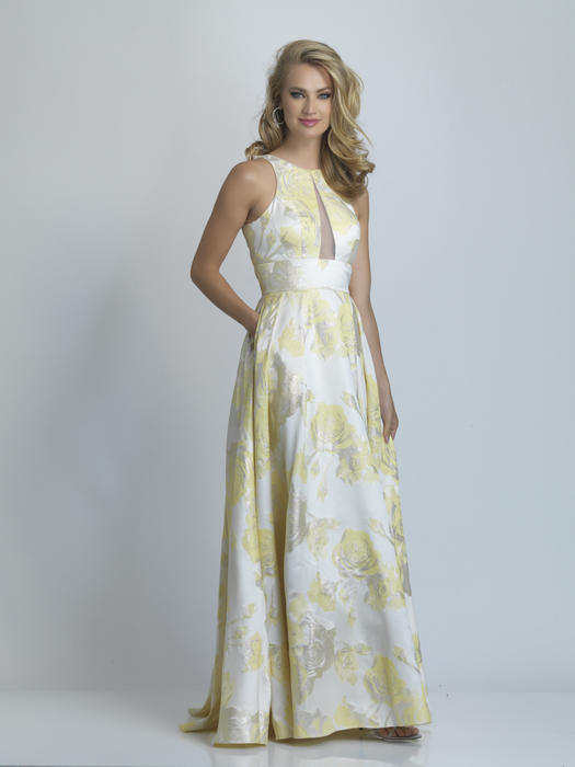 Dave and Johnny - Satin Metallic Brocade Gown