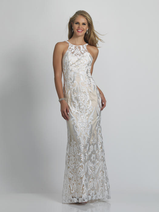 Dave and Johnny - Mesh Embroidered  Sequin Halter Neck Gown