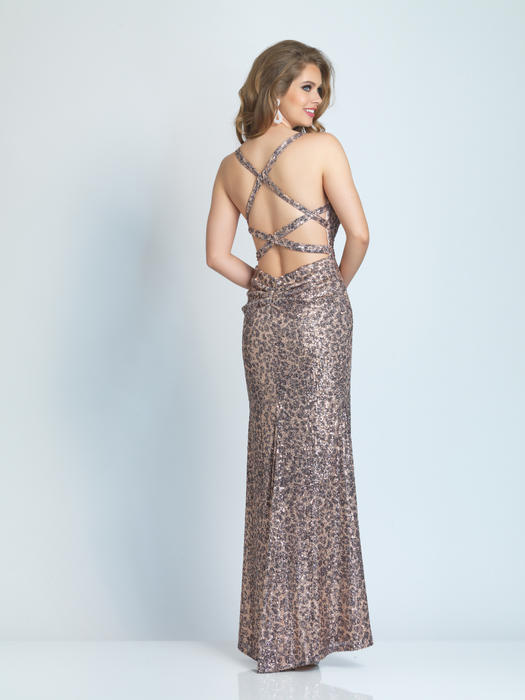 Dave and Johnny - Mesh Sequin Open Back Gown