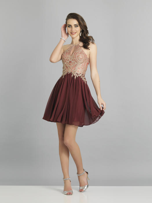 Dave and Johnny - Embroidered Keyhole Bodice Chiffon Fit & Flare