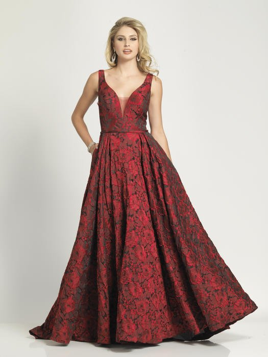 Dave and Johnny - Brocade V-Neck Gown