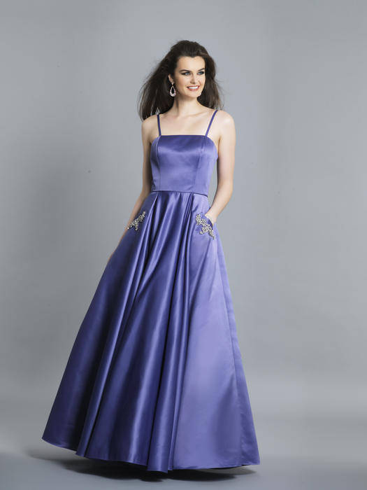 Dave and Johnny - Satin Beaded Strapless Ballgown