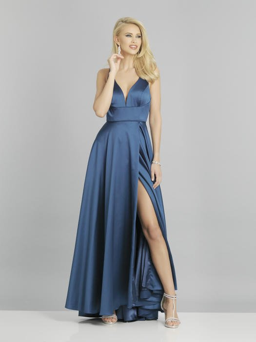 Dave and Johnny - Satin Wrap Waist Gown Open Back