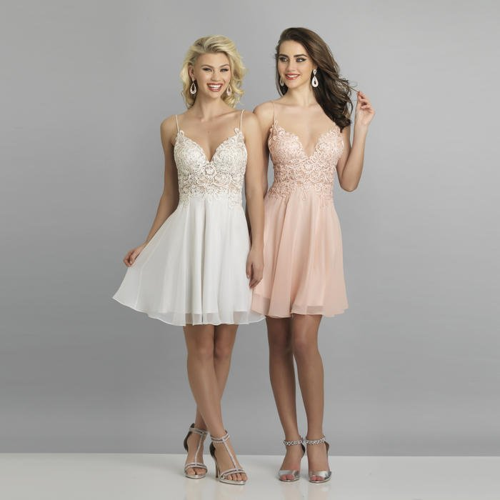 Dave and Johnny - Short Chiffon Embroidered Bodice Dress