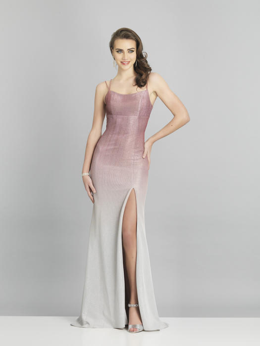 Dave and Johnny - Jersey Metallic Spaghetti Strap Gown