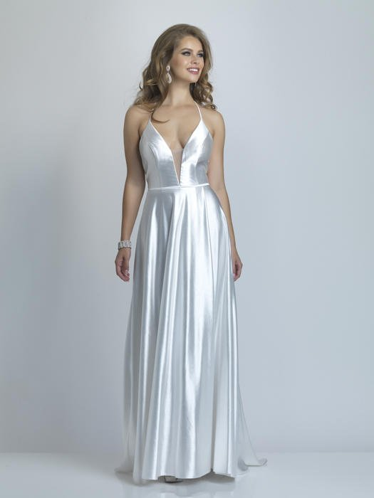 Dave and Johnny - Satin Halter Neck Criss Cross Back Gown