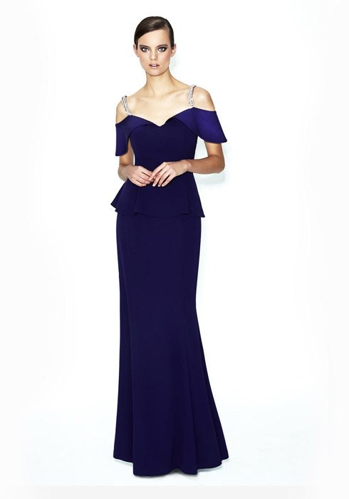 Daymor Couture - Satin Cold-Shoulder Peplum Gown