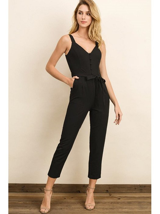 One and Done Buttoned Jumpsuit. Sleeveless jumpsuit with front button closure, s