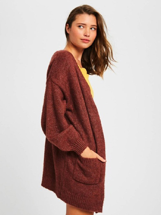 Two tone soft touch knit open cardigan - Ribbed on front, hem and cuffs - Patch