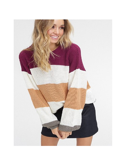 Striped, pull over - round neck sweater