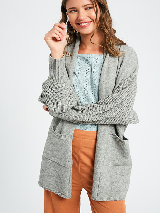 Two tone soft touch open cardigan