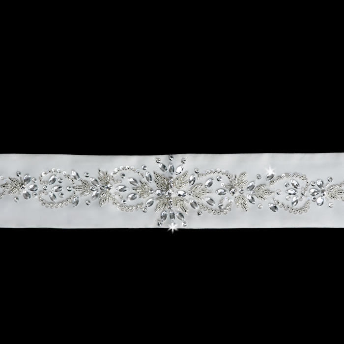 Beaded Satin Wedding Belt