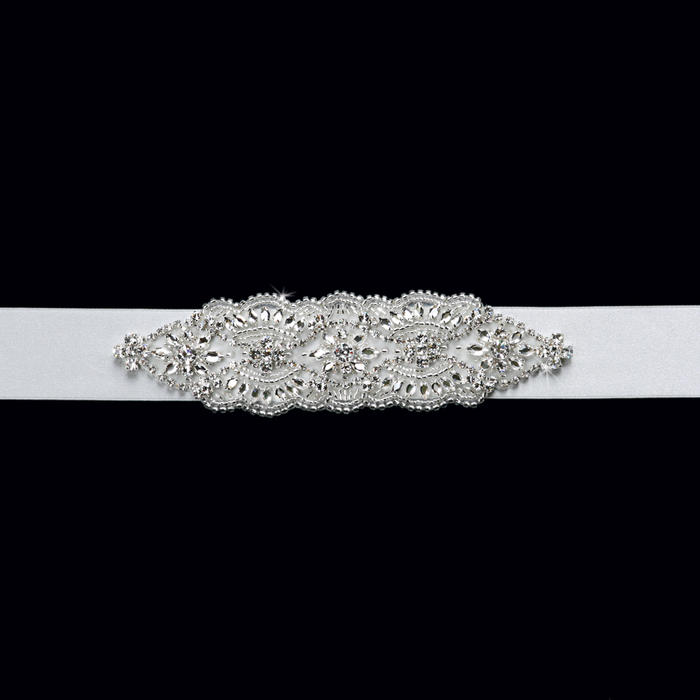 Rhinestone Satin Wedding Belt