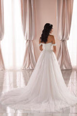 6809 Ivory Tulle And Royal Organza Over Ivory Gown With back