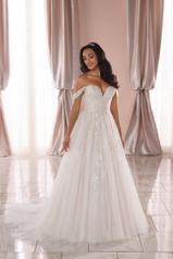 6809 Ivory Tulle And Royal Organza Over Ivory Gown With front