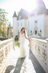 6928 Ivory Silver Lace On Ivory Soft Crepe With Ivory T front