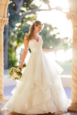 7053 Ivory Lace And Ice Skirt Over Ivory Gown front
