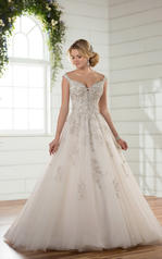 D2379 Ivory Silver Lace over Antique Ivory Gown with Por front
