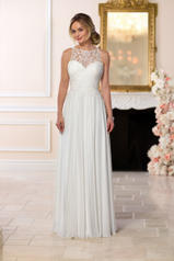 6593 White Gown With White Tulle Illusion front