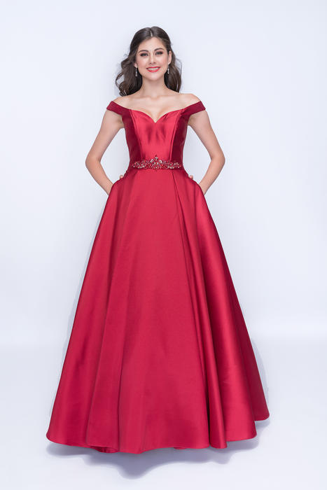 Nina Cannacci - Satin Off Shoulder Ballgown-Bead Waist