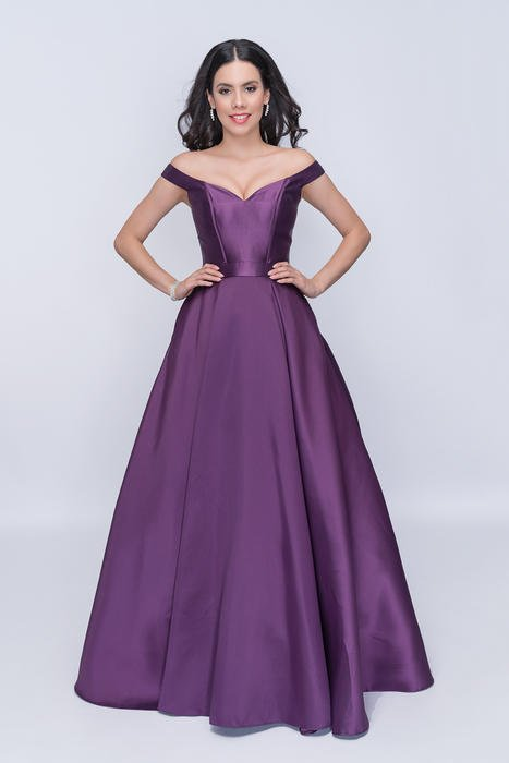 Nina Cannacci - Off-Shoulder Satin A-line Gown