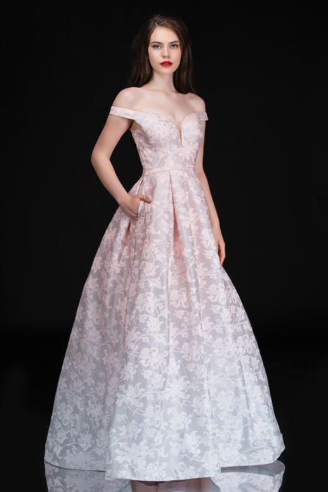 Nina Cannacci - Crepe Metallic Brocade Ball Gown