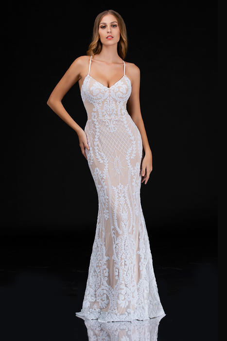 Nina Cannacci - Mesh Sequin Gown