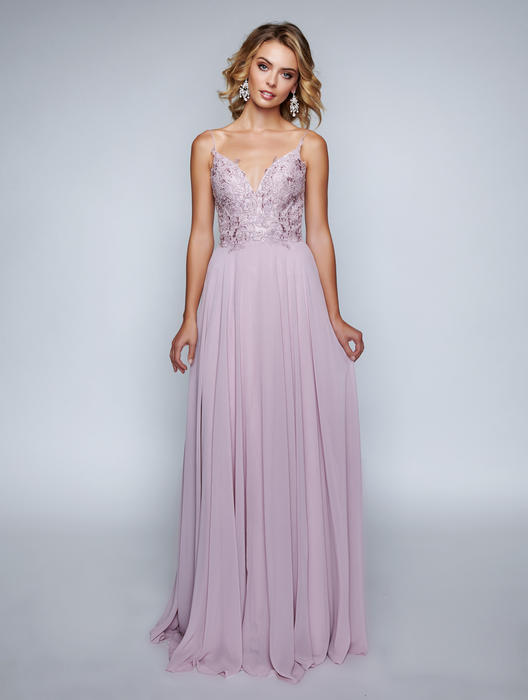 Nina Cannacci - Chiffon Gown-Embroidered Bodice