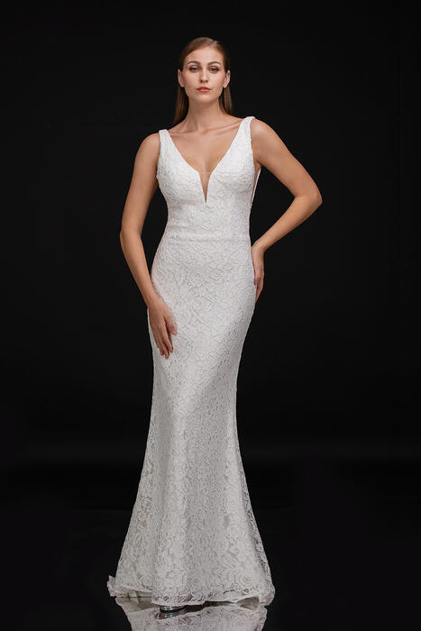 Nina Cannacci - Lace Gown Open Back-Sheer Sides