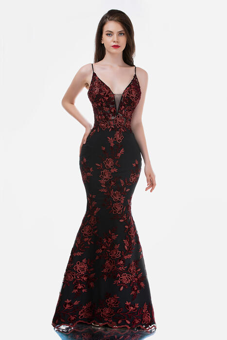Nina Cannacci - Mesh Embroidered Beaded Waist Gown