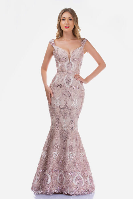 Nina Cannacci - Mesh Embroidered Sequin Gown