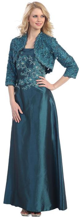 Fashion Eureka - Two Piece Satin Gown With Lace Jacket