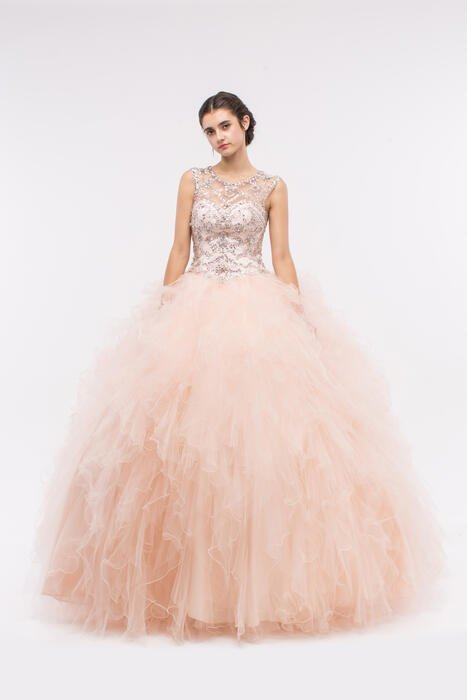 Fashion Eureka - Beaded Tulle Illusion Ball Gown