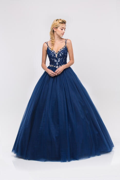 Fashion Eureka - Beaded Applique V-Neck Tulle Ball Gown
