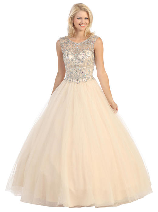Fashion Eureka - Sleeveless Embellished Tulle A-Line