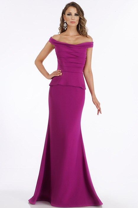 Feriani - Off The Shoulder Pleated Trumpet Gown
